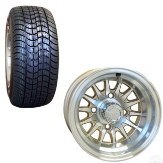 10 Inch Golf Cart Wheel and Street Tire Combo Pearl