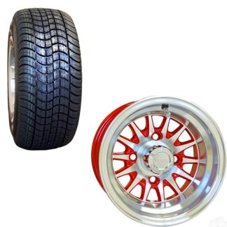 10 Inch Golf Cart Wheel and Street Tire Combo Red