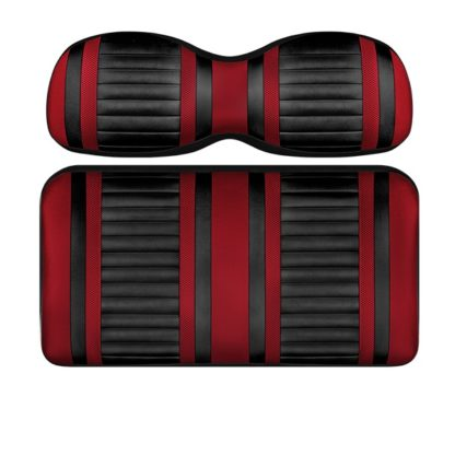 Custom Golf Cart Seat Black and Red Stripe Extreme
