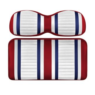 Custom Golf Cart Seat White Red and Blue Stripe Extreme