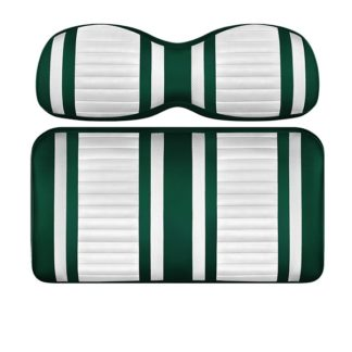 Custom Golf Cart Seat White and Green Stripe Extreme