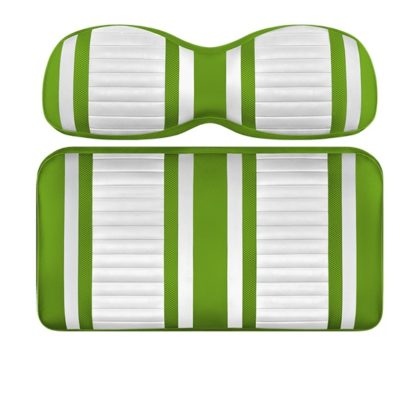 Custom Golf Cart Seat White and Lime Stripe Extreme