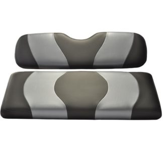 Golf Cart Rear Flip Seat Cover Set Black and Carbon Grey Wave