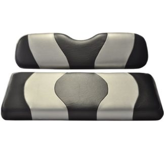 Golf Cart Seat Cover Black and Silver Wave CC DS 10-093