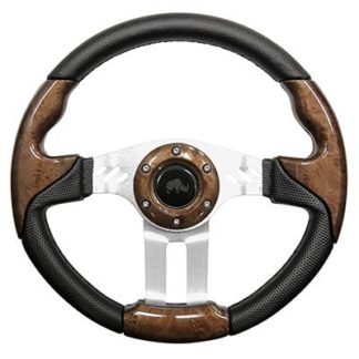 Golf Cart Steering Wheel Woodgrain With Aluminum Spokes 13 Inch