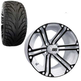 Golf Cart Wheel and Tire Combo 215x35x14 Street IROC White Black Gloss