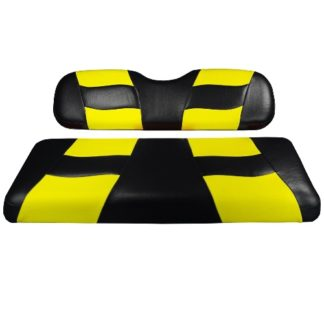 Madjax Golf Cart Seat Cover Set Black and Yellow Riptide