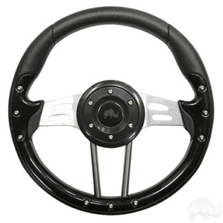 Golf Cart Steering Wheel 13 Inch Black Grip Aluminum Spokes